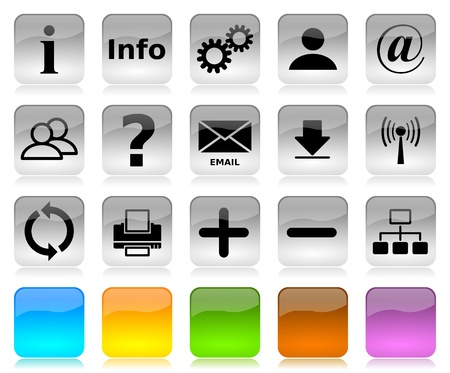 Black on white glossy internet icons series and five colors blank customizable buttons Standard-Bild