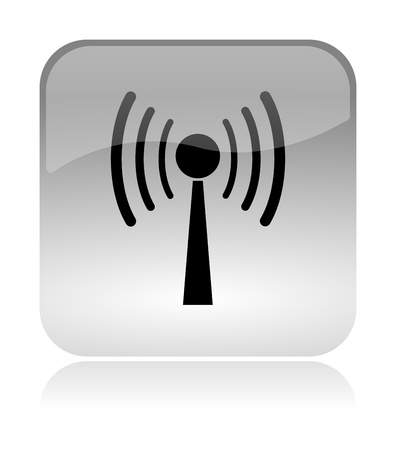Wifi, wireless, white, transparent and glossy web interface icon with reflection Stock Photo - 14635853