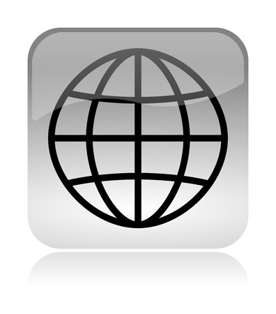 meridians: World meridians parallel white, transparent and glossy web interface icon with reflection Stock Photo
