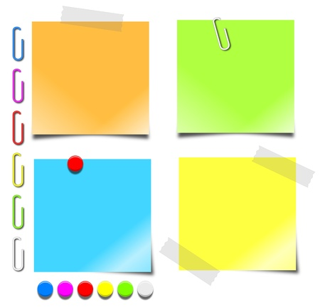 postits: Colorful 3d graphics of blank notepaper, paperclips and pushpins.