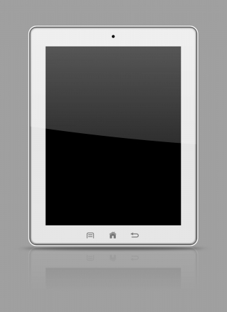 White tablet pc on gray background illustration illustration