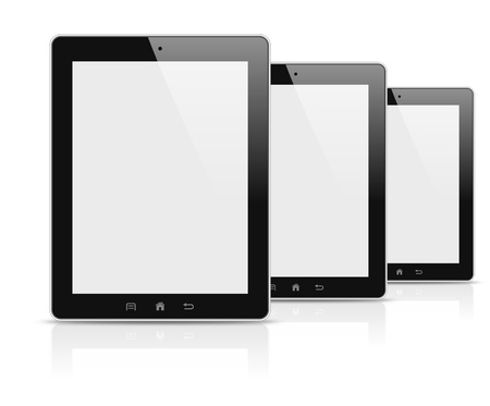 Three modern personal electronic tablets photo