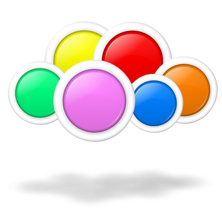everywhere: Cloud computing concept illustration formed by blank colorful buttons