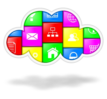 Colorful cloud with applications buttons illustration, cloud computing services concept illustration