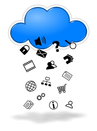 collects: Collecting data cloud computing concept illustration