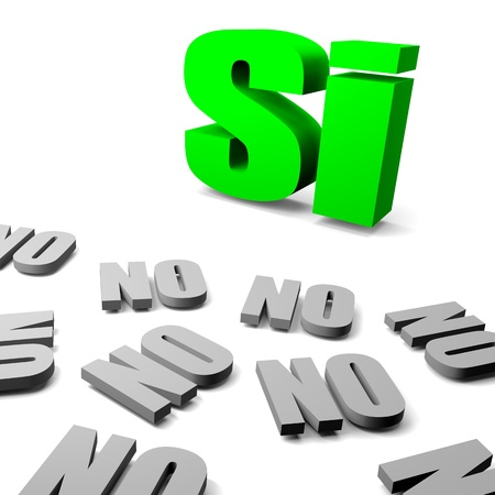 oppose: Green yes between gray no italian and spanish text, thinking different concept 3d illustration Stock Photo