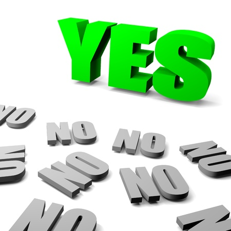 oppose: Green yes between gray no english text, thinking different concept 3d illustration Stock Photo