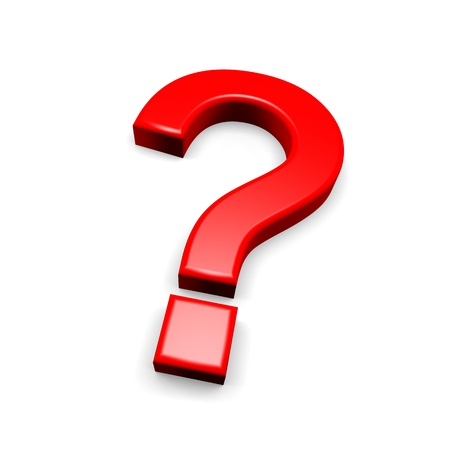 Fragezeichen: 3d rotes Fragezeichen auf wei�em Hintergrund
