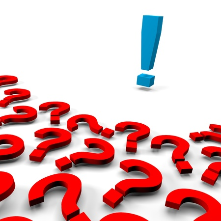 doubtfulness: Many 3d red question marks and one answer exclamation mark on white background Stock Photo