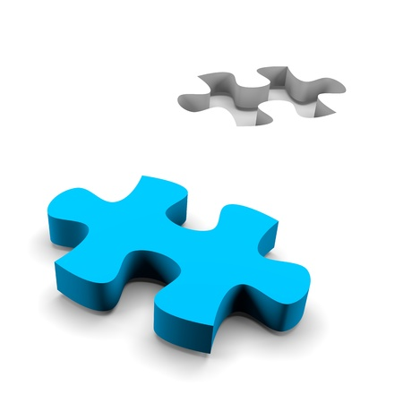 missing puzzle piece: blue puzzle piece and his missing on white background solution concept