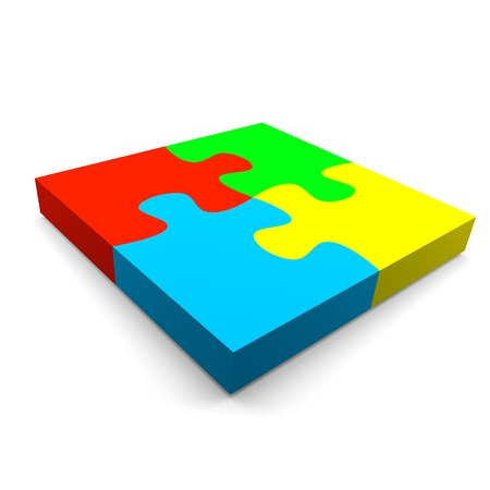 four color puzzle pieces combined cooperation concept on white background