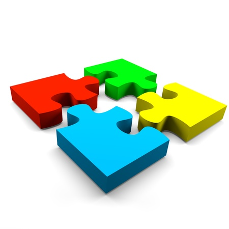 piezas de puzzle: cuatro piezas de puzzle de colores combinado concepto cooperación sobre fondo blanco