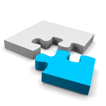blue puzzle piece combined solution concept on white background photo