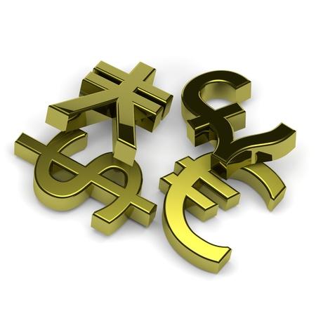 financial symbols: 3D golden currency symbols set on white background illustration Stock Photo