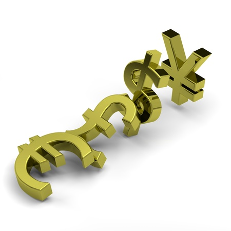 domino effect: 3D golden currency symbols set domino effect on white background illustration, crisis concept Stock Photo