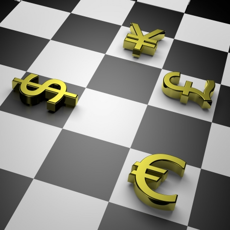 unit: 3D golden currency symbols on chessboard