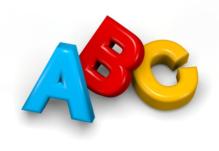 Abc colorful text on white 3d illustration illustration