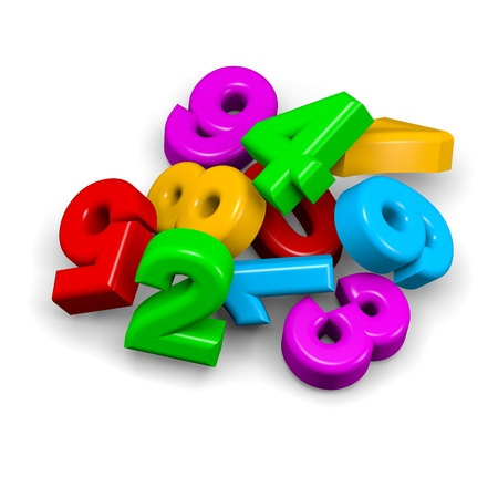 3D colorful funny stack of numbers on white background illustration illustration