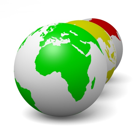 Globes series green ecology concept 3d illustration