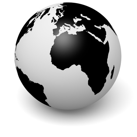 terrestrial globe: Black and white globe with shadow on white background, 3d illustration