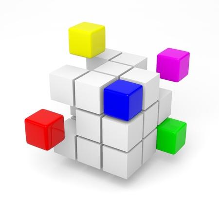 Combining color cubes teamwork project concept 3d illustration Standard-Bild