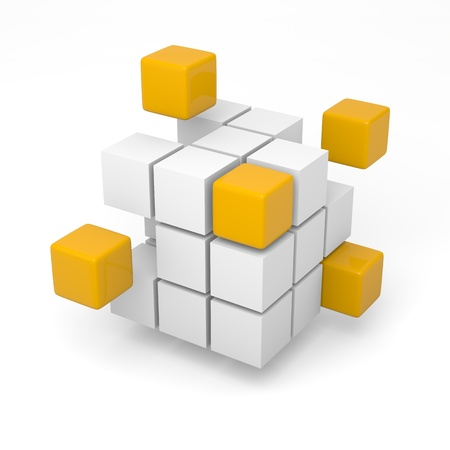 Combining orange cubes teamwork project concept 3d illustration