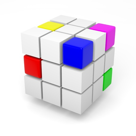 combining: Combining color cubes teamwork project concept 3d illustration Stock Photo