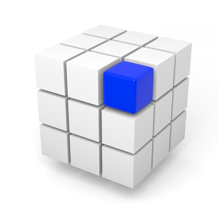 Combining blue cube teamwork solution concept 3d illustration