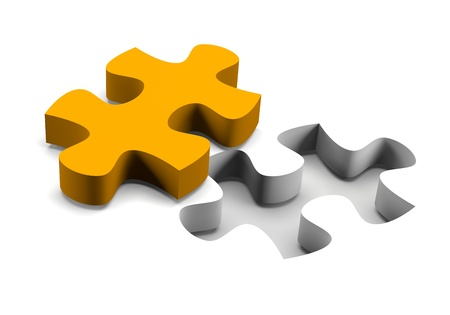 complete solution: Orange puzzle piece and his missing on white background solution concept