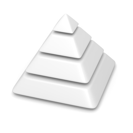 white blank pyramid 4 levels stack chart with shadow 3d illustration 写真素材