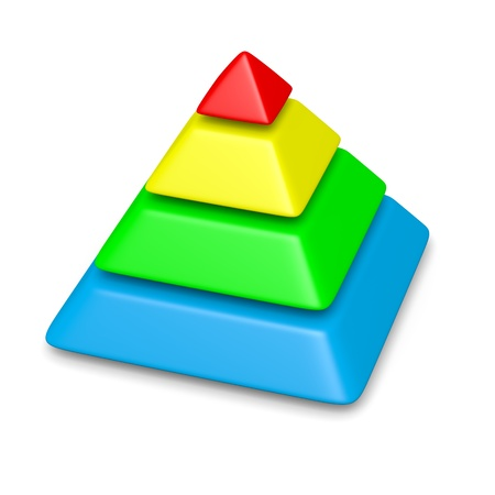 colorful blank pyramid 4 levels stack chart with shadow 3d illustration 写真素材
