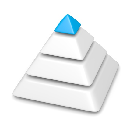 schemes: blank pyramid 4 levels stack completed with blue top piece 3d illustration