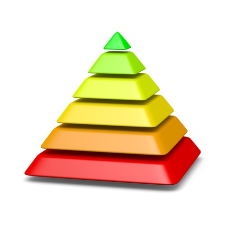 pyramids: 6 levels pyramid structure red to green environment concept 3d illustration Stock Photo