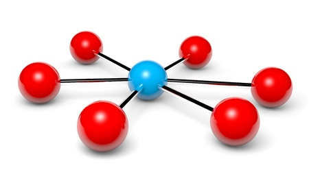 Blue network hotspot and red nodes connected 3d illustration