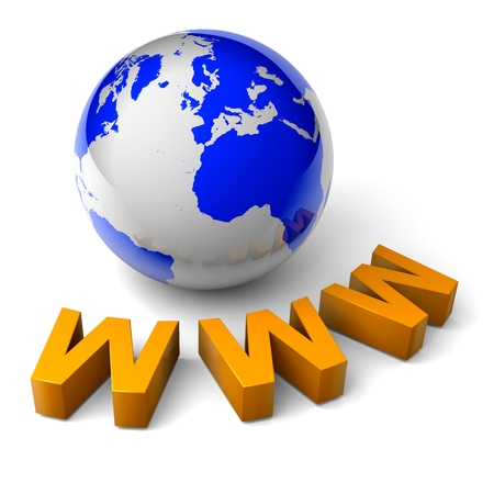 web services: orange www text and blue world globe 3d illustration internet concept Stock Photo