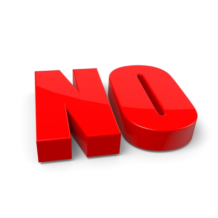withhold: No Red Text on White Background with Shadow 3D Illustration