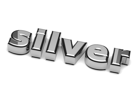 silver plated: Silver English Word on White Background 3D Illustration