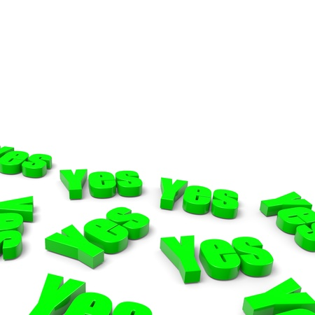 Many Yes English Green Text on White Background with Shadow 3D Illustration