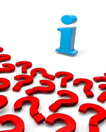 interrogate: Many 3D Red Question Mark and One Information Letter on White Background