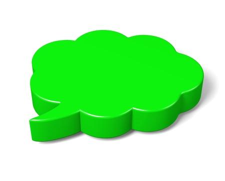 talks: Green Empty Blank 3D Comic Speech Bubbles Cloud Shape on White Background