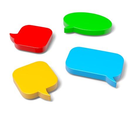 speach: Colorful, Empty Blank 3D Comic Speech Bubbles Set on White Background Stock Photo