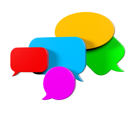 talks: Colorful, Empty Blank 3D Comic Speech Bubbles Set Isolated on White Background Stock Photo