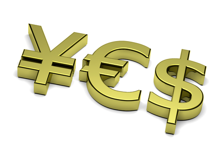 composing: 3D Golden Euro Yen and Dollar Currency Sign Composing Yes Text on white background