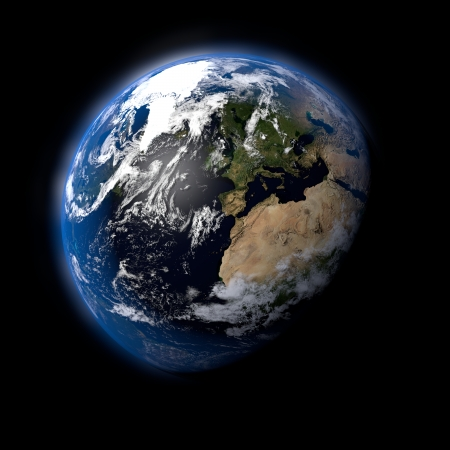 Realistic Earth Planet on Black Space Background photo