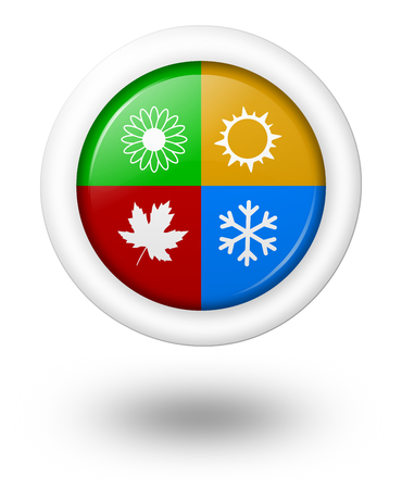 Seasons Rounded Colorful Icon with Shadow Illustration on White Background