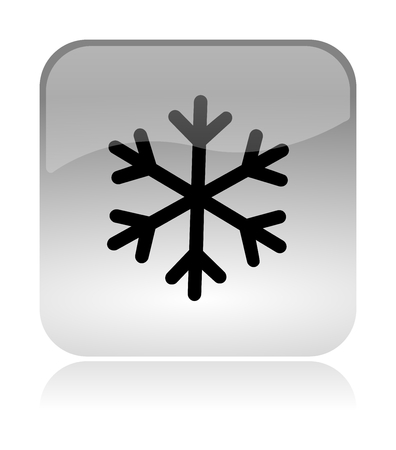 Snowflake Winter Rounded Square Icon with Reflection Illustration Isolated on White Background