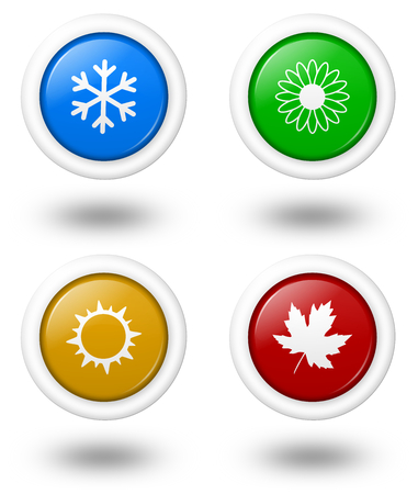 Seasons Rounded Colorful Icon Series with Shadow Illustration on White Background Stock Photo
