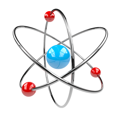 orbits: 3D Atom Isolated on White Background Illustration