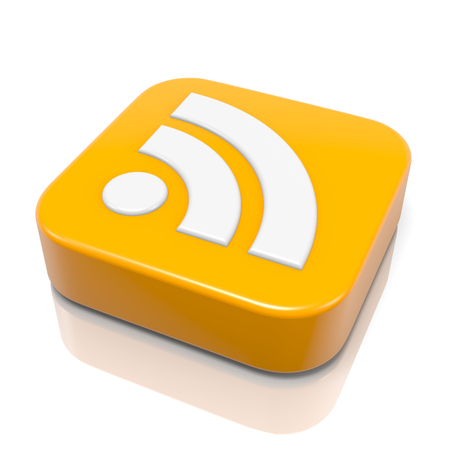 RSS Feed 3D Icon with Reflection on White Background Illustration