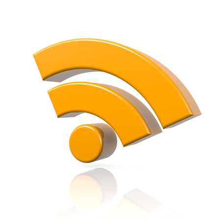 transmit: RSS Feed 3D Symbol with Reflection on White Background Illustration